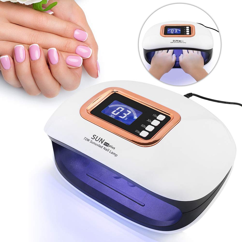 yuyte 72W Nail Dryer, UV LED Nail Lamp with 36 Light and Automatic Sensor and 4 Timer for 2 Hands Quick Dry(White) by yuyte