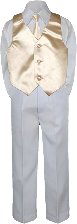 4pc Baby Toddler Boy Kid Formal Suit White Pants Shirt Vest Necktie Set 5-7