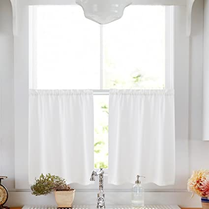 Kitchen Tier Curtains 36 Inch White Semi Sheer Cafe Casual Weave Textured Short For