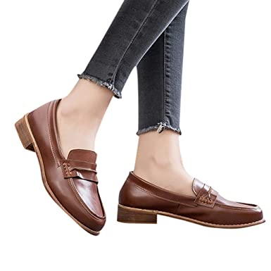 Womens Leather Loafers Casual Round Toe Chunky Heel Summer Moccasins Flats Pump Shoes (Brown,