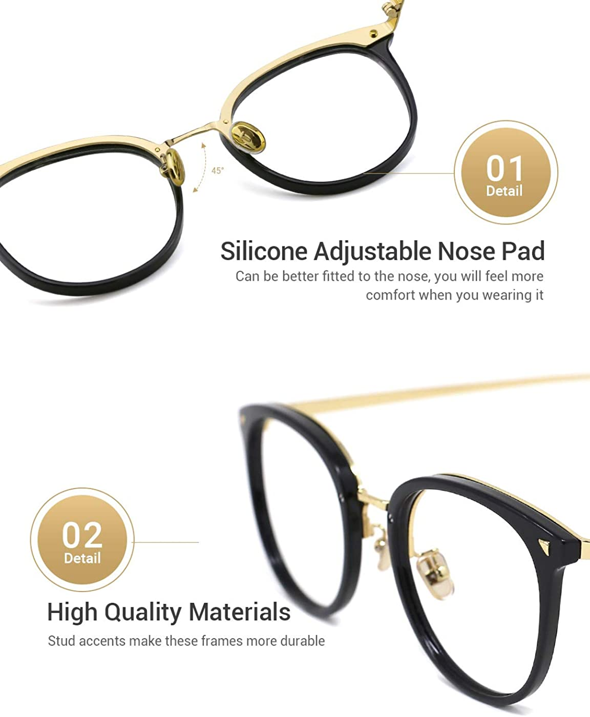 paquete de 2 medio 17-transparente + leopardo TIJN El bloqueo de luz azul marco de los vidrios del ordenador PC gafas redondas de las lentes no prescripci/ón de los vidrios