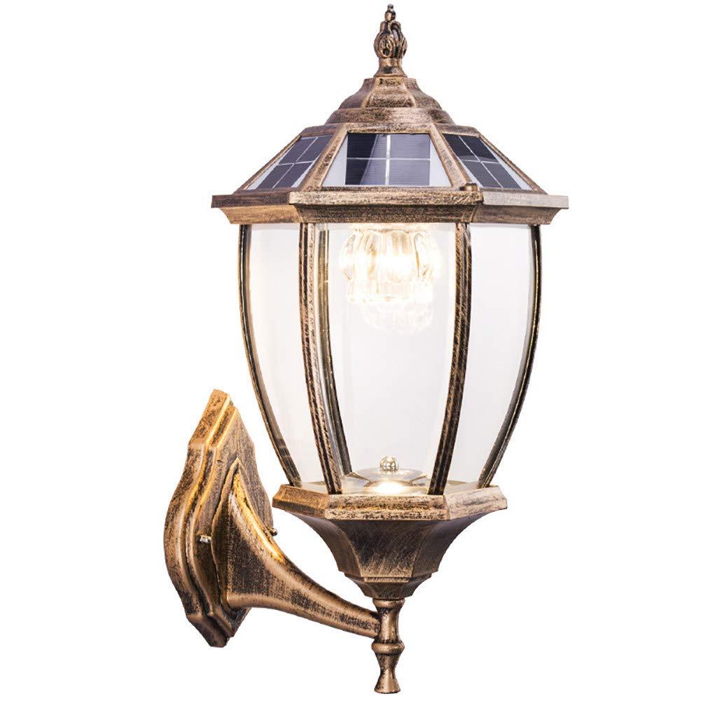 Lampada da Parete a energia Solare – Esterno Giardino Impermeabile sensore LED, Luce Bianca Calda, Europea Villa Colonna Light commutabile, recinto pilastro Testa della Lampada