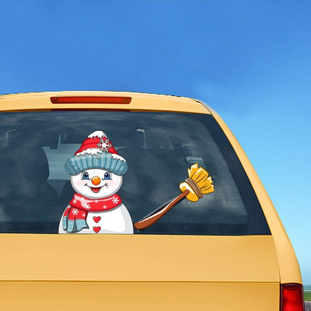 Luckybaby Adesivi per tergicristalli Posteriori di Natale Simpatico Pupazzo di Neve sventolante Adesivo per tergicristallo Posteriore Adesivi per tergicristalli per Parabrezza