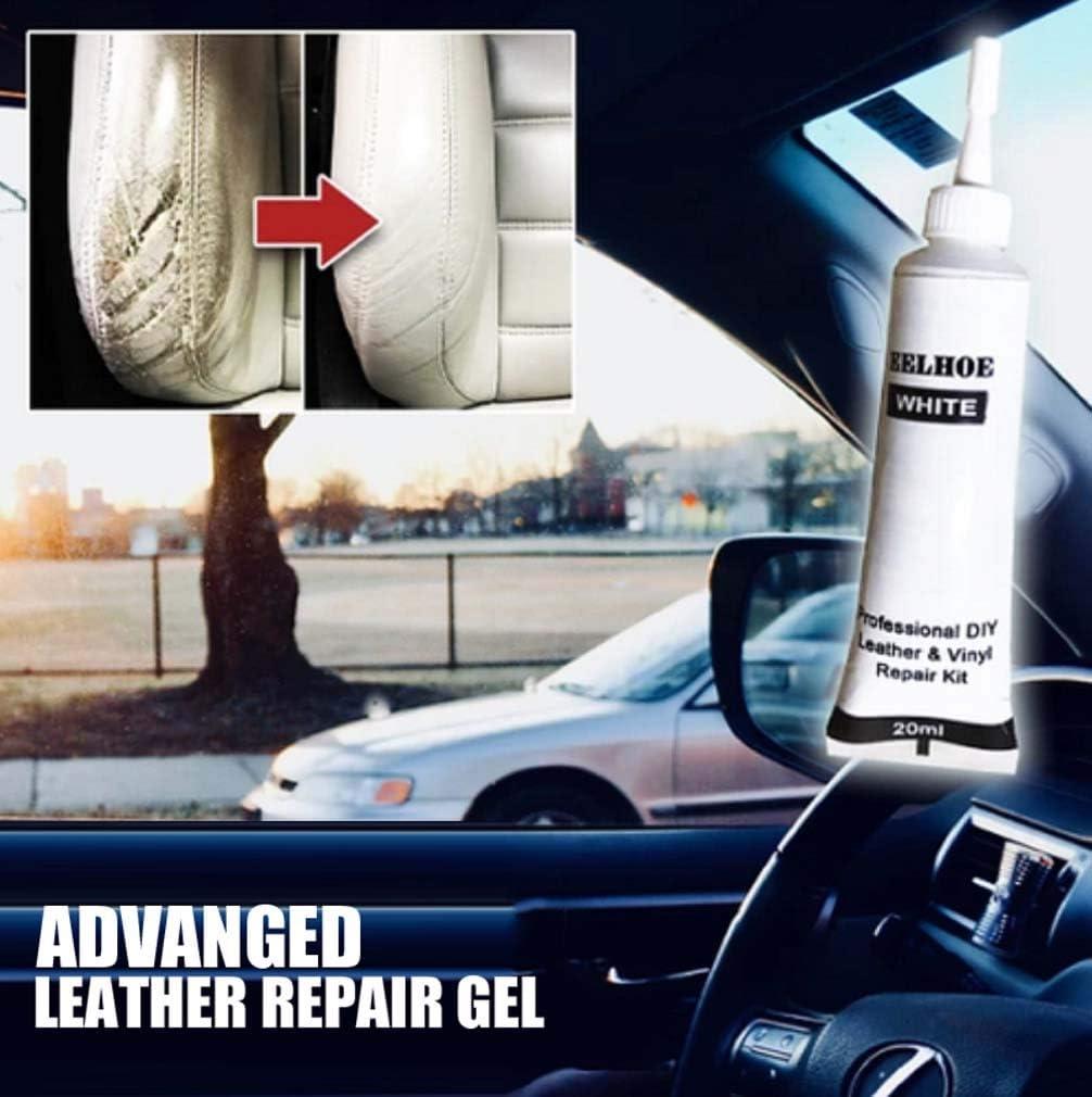Gel avanzado de reparación de cuero para asientos de automóviles, sofás y muebles - Fórmula de relleno de arañazos líquidos Reparaciones de sofás, rasgaduras y agujeros para quemaduras (White)