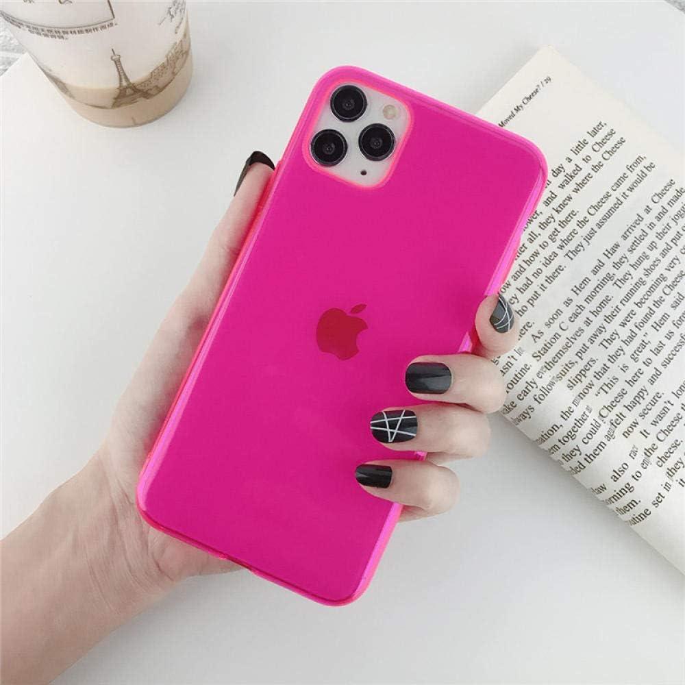OWIME Funda de teléfono Transparente de Color sólido para iPhone 11 11pro se 2020 MAX x XR XS MAX 7 8 6 6s Plus Simple Colorido Suave contraportada de TPU-para iPhone XS_RR
