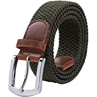 Maikun Braided Elastic Stretch Woven Belt with Leather Tip Nickle Pin Buckle 41 45 49in