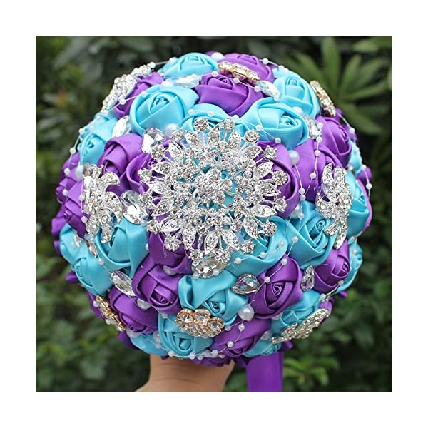 Wedding bouquets for bride,Wedding Bride Holding Bouquet Roses with Diamond Pearl Ribbon Valentine's Day Confession (Purple+Blue)