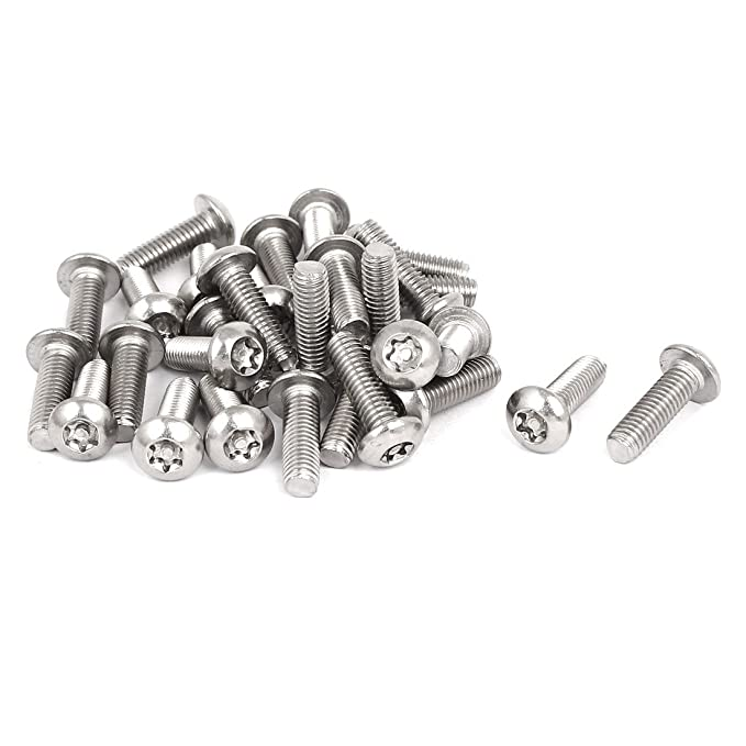 uxcellM6x16mm 304 Stainless Steel Button Head Torx Security Tamper Proof Screws 30pcs