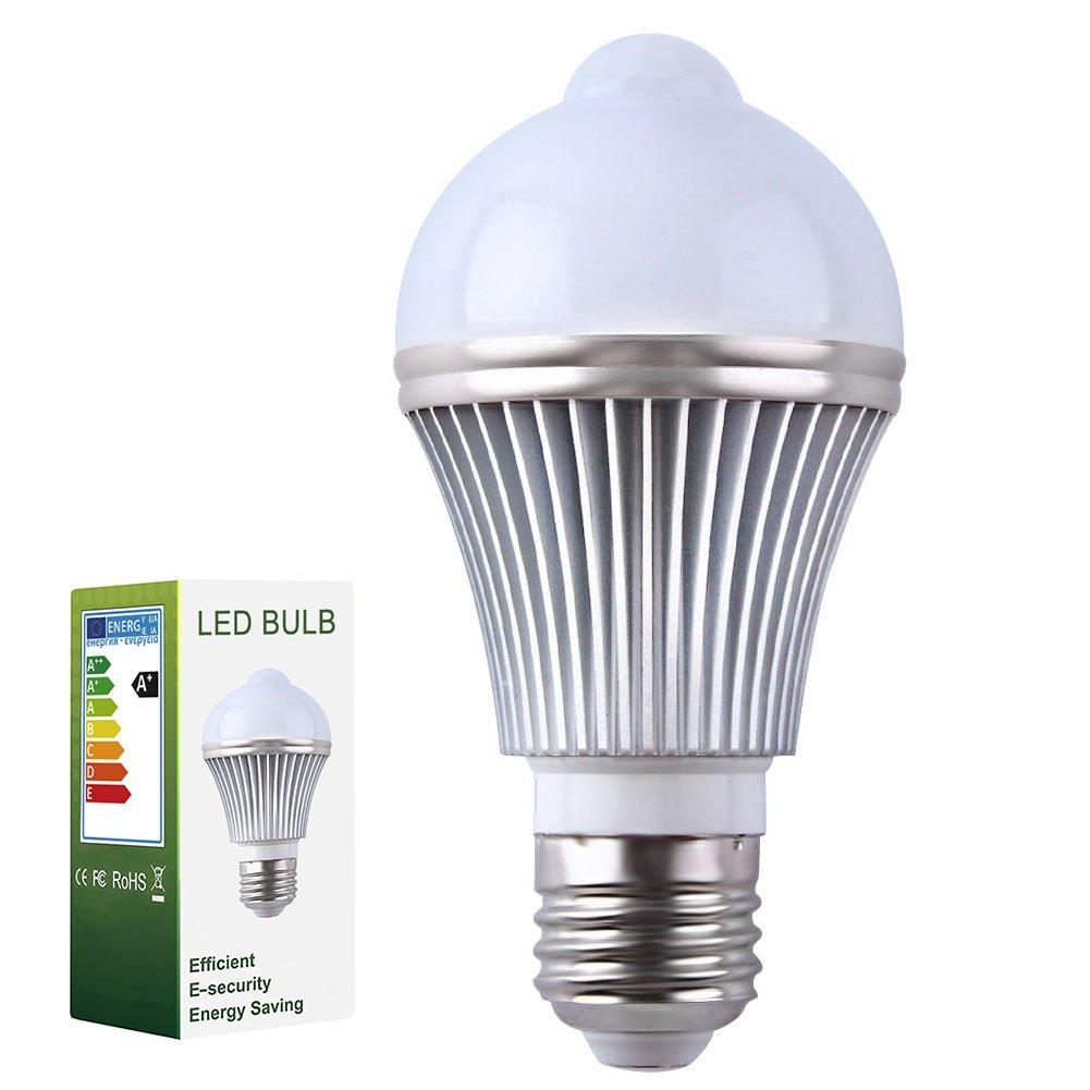 ELEOPTION 2-Pack 5W E27 LED Infrared PIR Motion Sensor Lamp [Automatic Infrared Sensory Motion Detector]Activated Night Light Outdoor Indoor Twilight Sensor Light (Natural White)