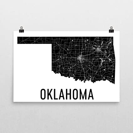 State Map Oklahoma.Amazon Com Modern Map Art Oklahoma Home Map Of Oklahoma Oklahoma