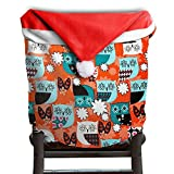 Owl Animal Christmas Chair Covers Decorations Comfort Touch Santa Hat Chair Covers For Family Armless Chair Slipcover Holiday Festive