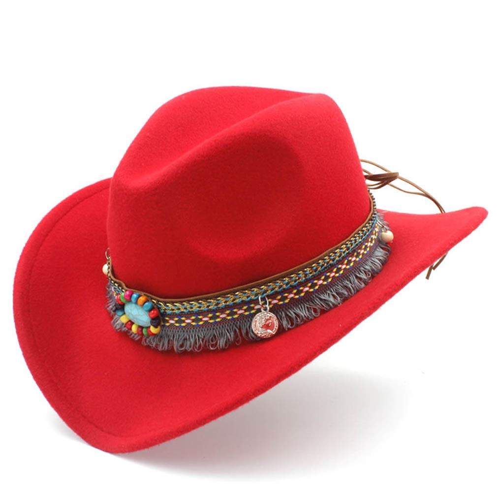 Elee Women Men Wool Blend Western Cowboy Hat Cowgirl Caps Bohemia Tassel Ribbon