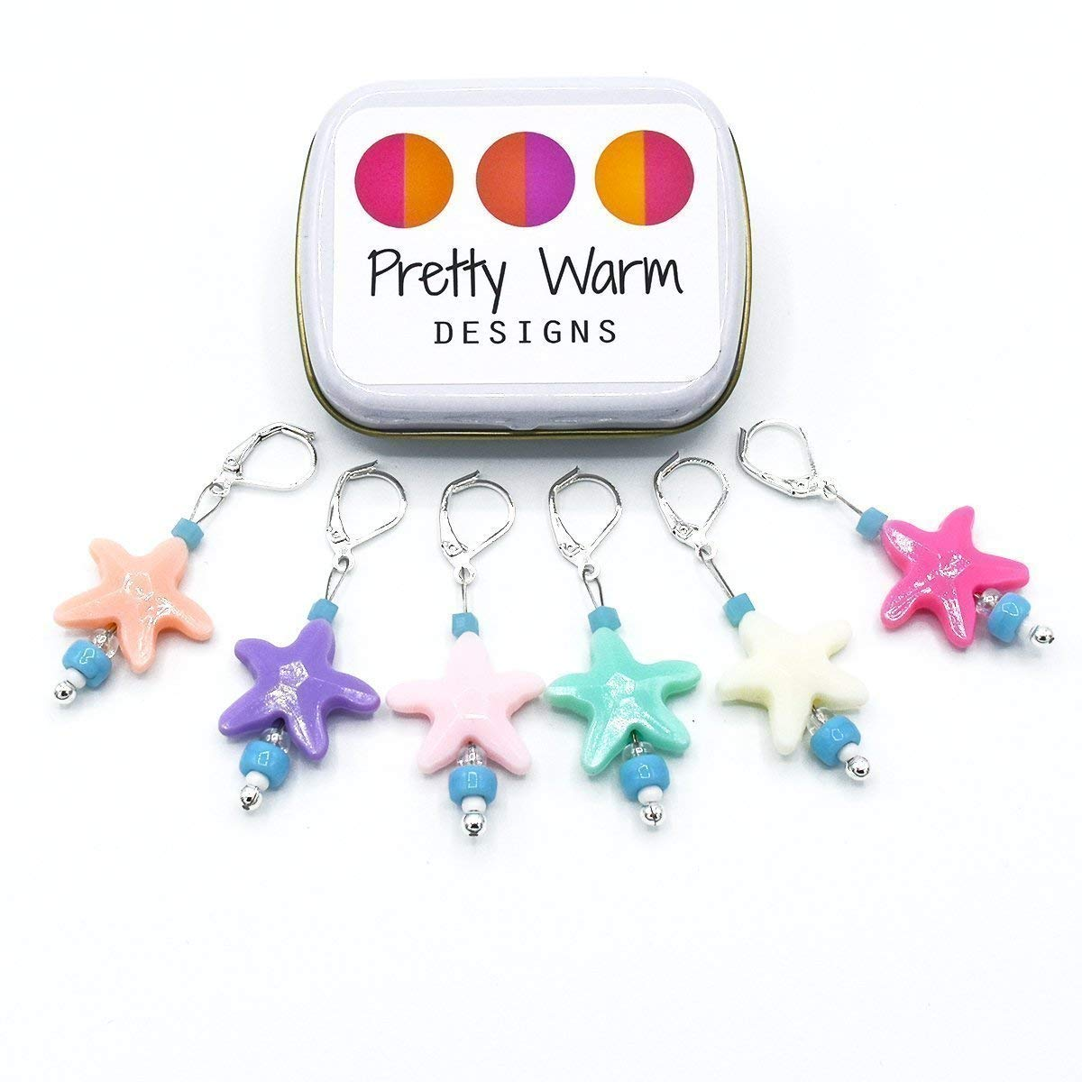 Starfish Locking Stitch Markers Jewelry for Crochet (Set of 6 with Tin)