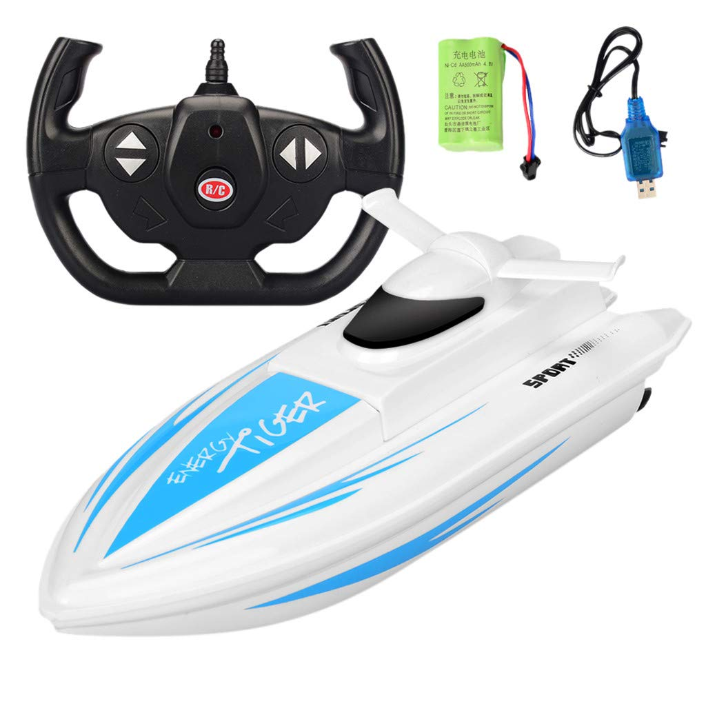 Sonmer 1:16 Fast Shipping Racing Boat for Kids, Up To 20km/h, 2.4G Remote Control (Blue)