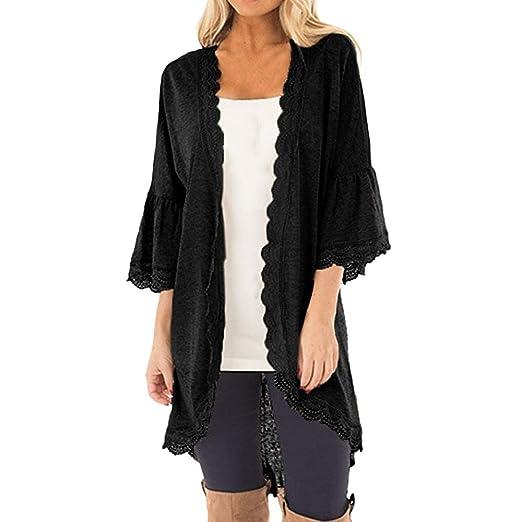 18f4bf6c069 Amazon.com  XOWRTE Cardigan Women Long Sleeve Tunic Outerwear Jacket Loose  Casual 3 4 Bell Sleeve Lace Kimono Coat  Clothing