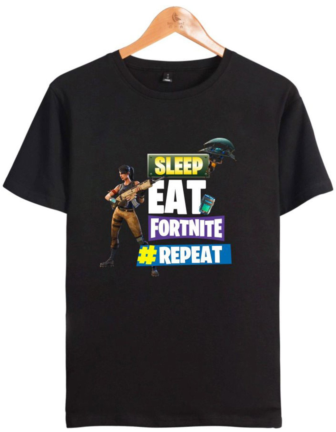 SERAFHY Unisex T-Shirt Fortnite Keep Calm e Make a Dab Sleep T-Shirt per Bambini e Adulti a Maniche Corte in Cotone Top