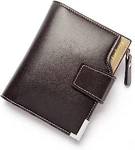 Baellerry Casual Zipper leather Short Wallet for men, Black
