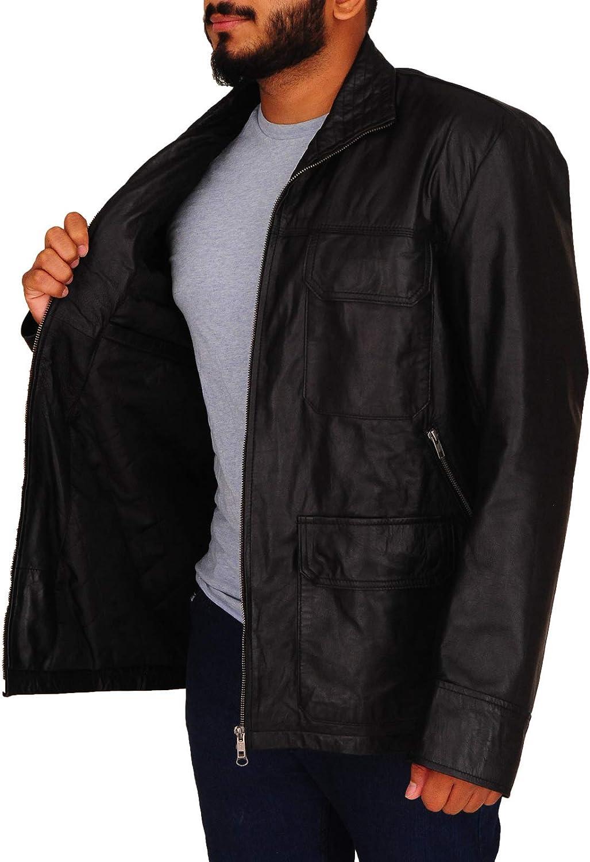 TrendHoop Mens Racer Biker Vintage Motorcycle Six Pockets Real Leather Black Jacket
