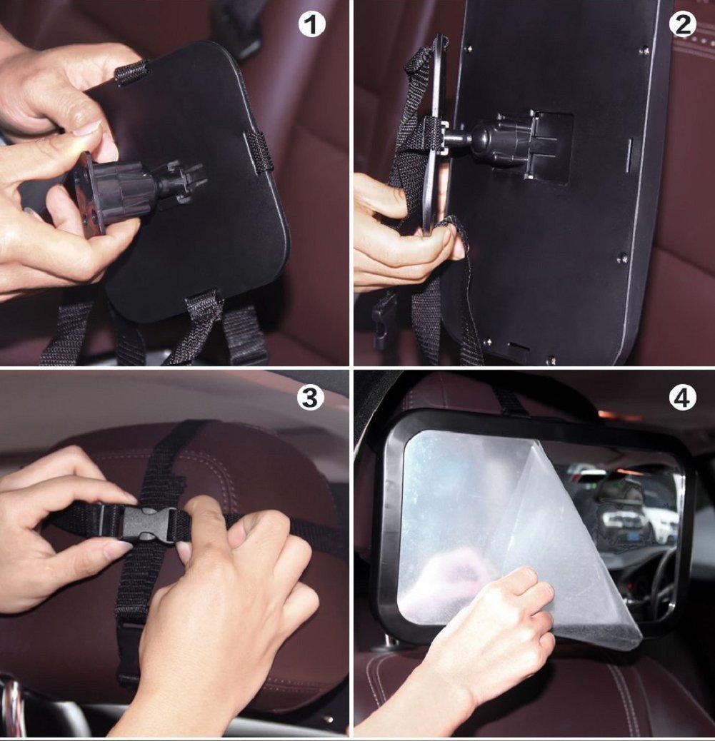 24.5 cm x 17.5 cm Home-Neat Specchio auto regolabile per bambini Specchietto per sedili posteriori