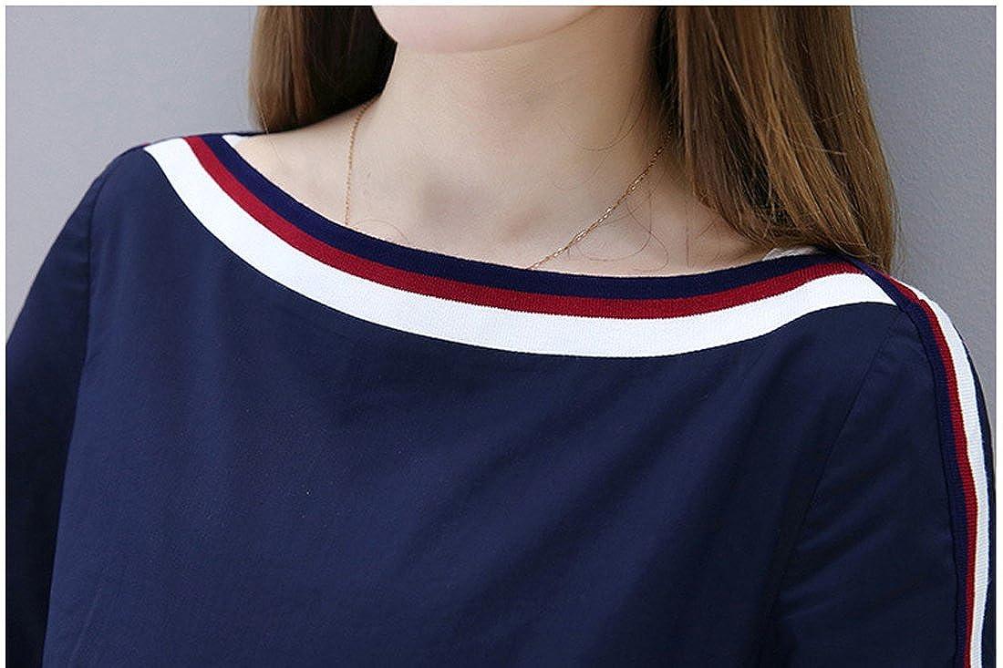 Springrain Womens Boat Neck Short Sleeve Bow Knot Stripes A-Line Midi Dress Navy