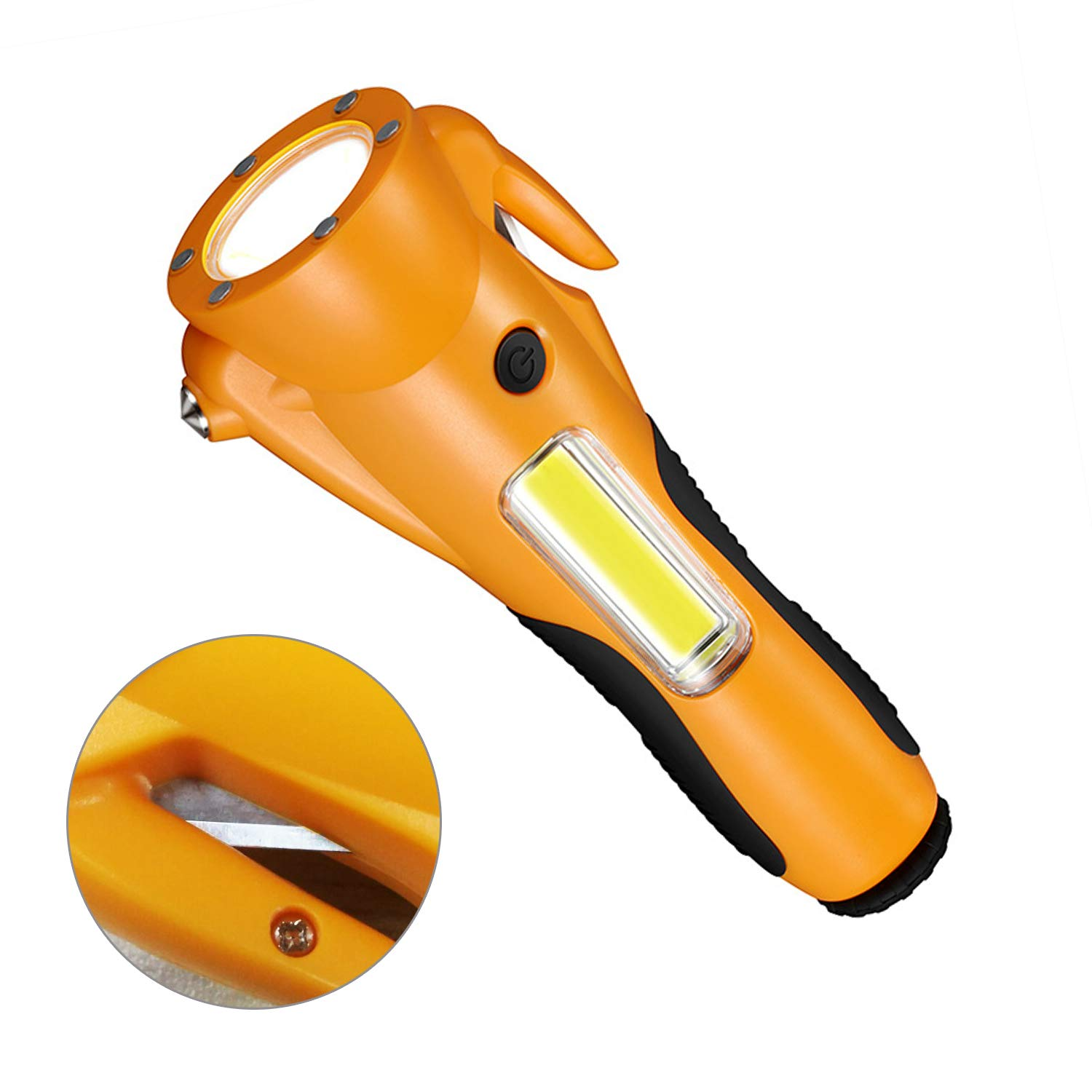 6 in 1 Emergency Escape Tool with Car Window Breaker and Seat Belt Cutter Yellow Life Saving Survival Kit LED Flashlight All Vehicles Whistle /& Alarm Lamp Kit for Cars XBRN Car Safety Hammer