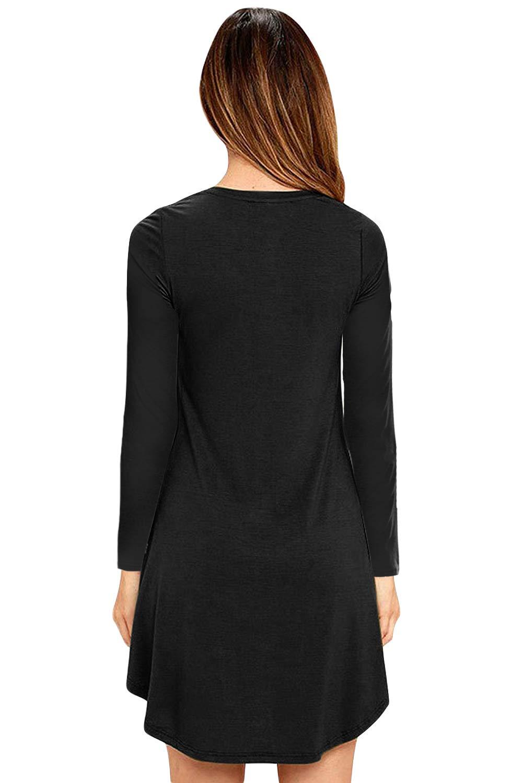Eanklosco Femmes Col en V Robe Balançoire Simple à Volants Manches Longues en Vrac Casual T-Shirt Robe avec Poches (Noir, Large/FR40)