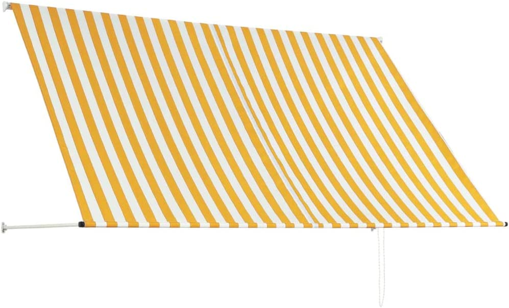 Festnight Tenda Laterale Riavvolgibile Giallo e Bianco 200x150 cm Tenda da Sole Retrattile