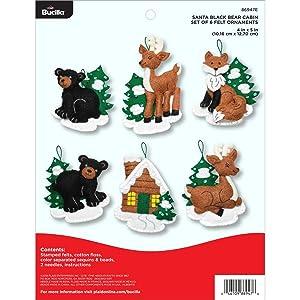 "Bucilla 86947E Felt Applique 6 Piece Ornament Kit, 4""X5"", Santa Black Bear Cabin"