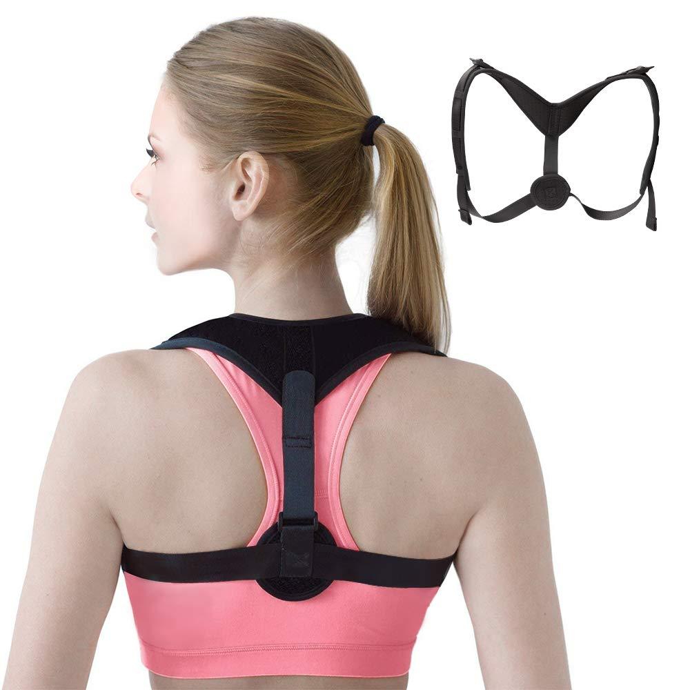 Back Brace Posture Corrector for Women and Men, Adjustable Upper Back Brace for Posture, Shoulder Posture Brace, Posture Exercises, Improve Posture Straight Back(Fit for 26''-48'' Chest)