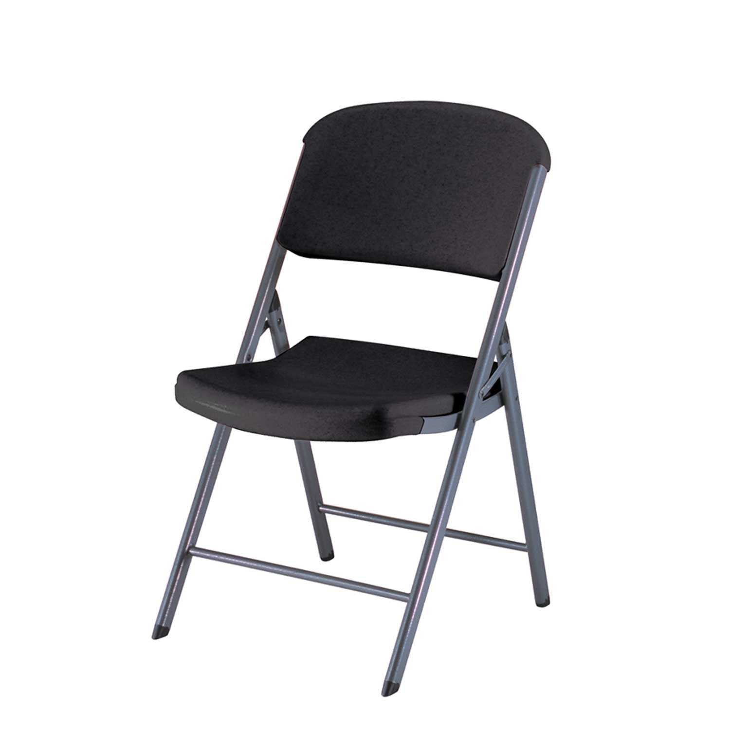 Lifetime 80187 Classic Commercial Folding Chair, Black with Gray Frame, 4 Pack
