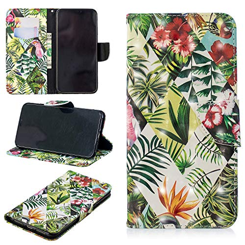 UZER 3D Premium PU Leather Shockproof Kickstand Folio Flip Wallet Case Cash/Card Slots Durable Magnetic Plants Animals Series Book Case iPhone Xs Max 6.5 Inch 2018 ()