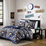 4 Piece Kids Boys Grey Blue Camouflage Coverlet Full Queen Set, Army Camo Bedding Navy Cream Gray Colors Military Pattern Abstract Helicopter Pillow Teen Childrens, Polyester