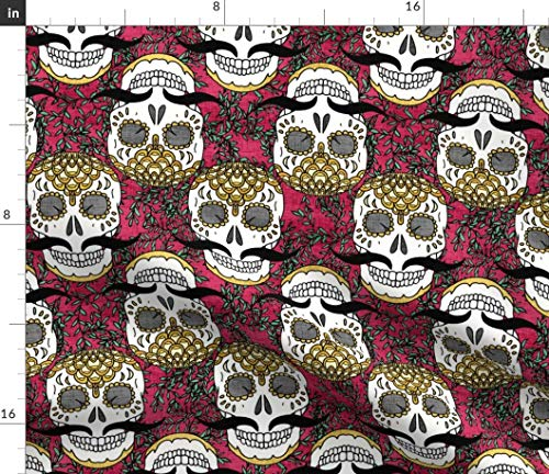 Spoonflower Calavera Skulls Fabric - Golden in The Jungle Sugar Skull Mexico Day of Dead South America Mustache Dia Print on Fabric by The Yard - Chiffon for Sewing Fashion Apparel Dresses Home Decor