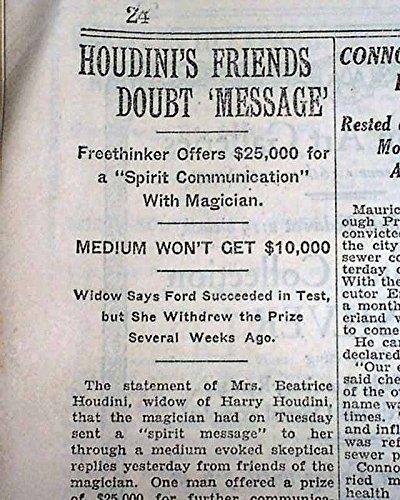 HARRY HOUDINI Spiritualist Magic Medium WIFE FRAUD ? Seance 1929 Old Newspaper THE NEW YORK TIMES, January 10, 1929