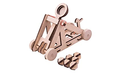 Woodwars Catapult Wooden Miniature Tabletop Desktop Warfare Kit Easy Assembly And Reliable Performance With Detailed Full Color Instruction Guide