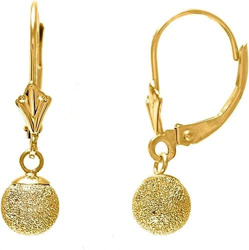 14K Real Yellow Gold Ball Shiny Stud Earrings 6mm