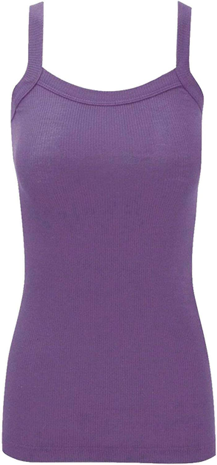 Womens Ladies Girls Stretchy Ribbed Vest Top Summer Rib Strap Vest Top UK Size 8-14