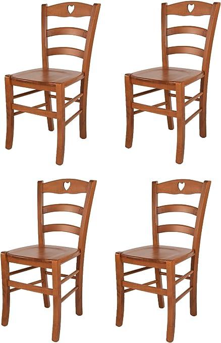 tmcs Tommychairs Set 4 sedie Classiche Cuore per Cucina e Sala da Pranzo, Robusta Struttura e Seduta in Legno di faggio Verniciata Ciliegio