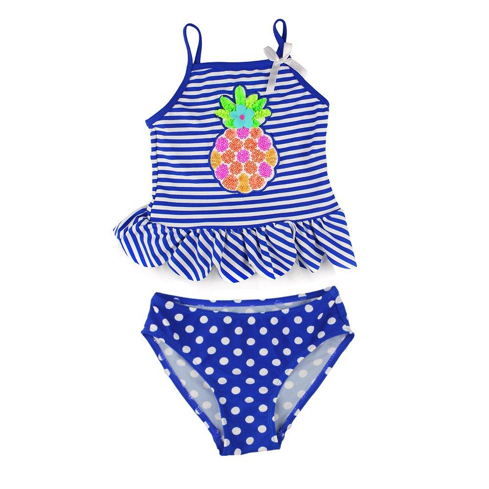 Estamico Little Girls' Summer Two Piece Tankini Kids Swimsuit Bathing Suit Swimwear