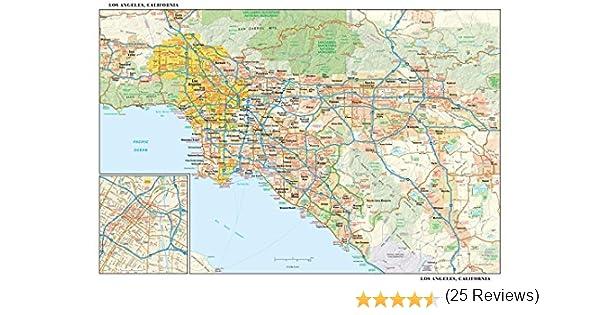 Globe Turner Los Ángeles California Mapa de Pared – 21,75 x 14,5 Pulgadas – Papel – Plano tubado: Amazon.es: Hogar