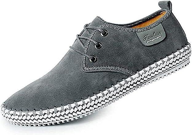 TALLA 40 EU. CUSTOME Hombres Ante Cuero Zapatos con Cordones Sneaker Mocasines Ligero Plano Suave Durable Hecho a Mano Antideslizante Zapatos