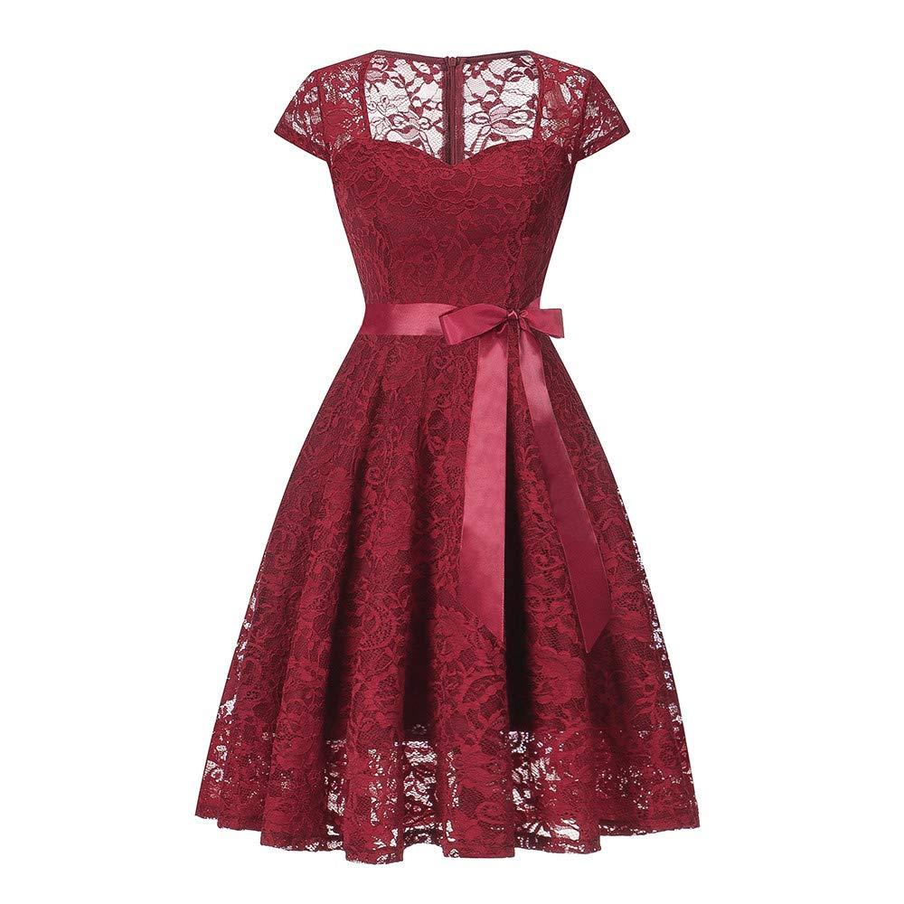 Lenfesh Vintage 50s 60s Vestido Sin Mangas con Lazo Rockabilly de Flor Encaje Vestido Mujer de Encaje Corto Vestido de Fiesta Vestidos de Noche Elegante Mujer Vestidos de Mujer