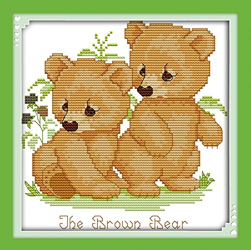 Love Counted Cross Stitch Pattern - Good Value Cross Stitch Kits Beginners Kids Advanced - Brown Bear 11 CT 10