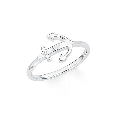 c4fcfee63f15 s.Oliver Damen-Ring So Pure Anker maritim 925 Sterling Silber rhodiniert  Zirkonia weiß  Amazon.de  Schmuck