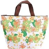 LedChoice Insulated Cooler Waterproof Women's Lunch Picnic Tote Bag Travel Zipper Organizer Box (Green Leaf)