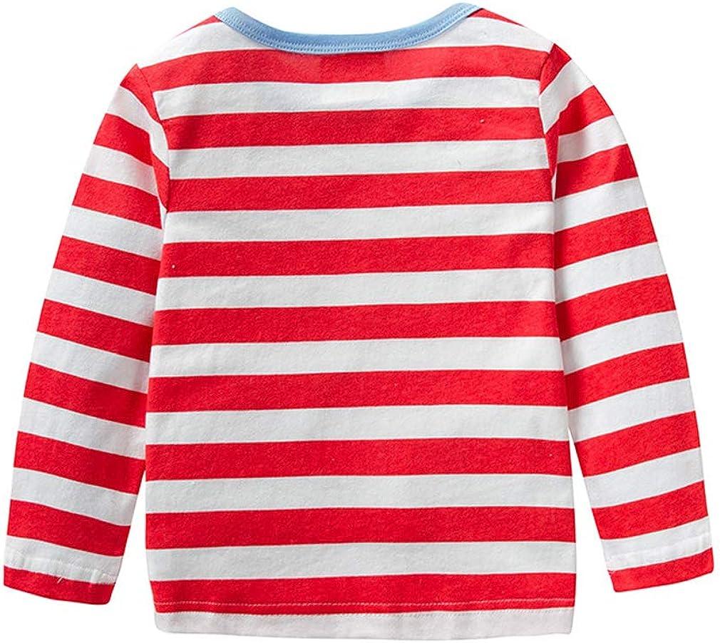 2 Pieces Kids Toddler Girls Long Sleeve Cotton T-Shirt Cartoon Crewneck Pullover Striping Tops 18M-6T