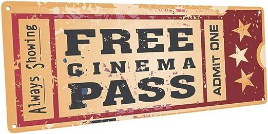 Amazon.com: Señal decorativa de metal OMSC Free Cinema Pass ...