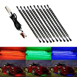 iJDMTOY 10pcs Expandable 7-Color RGB 180-LED Underbody Under Car Lighting Kit + Remote