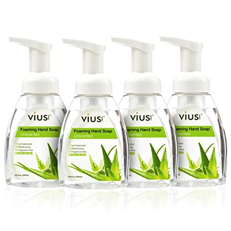 Unscented Foaming Liquid Hand Soap - vius Unscented Liquid Soap with Foamer Pump - Moisturizing, Fragrance-Free, Sensitive Skin, Family-Friendly (Unscented, 4 Pack)