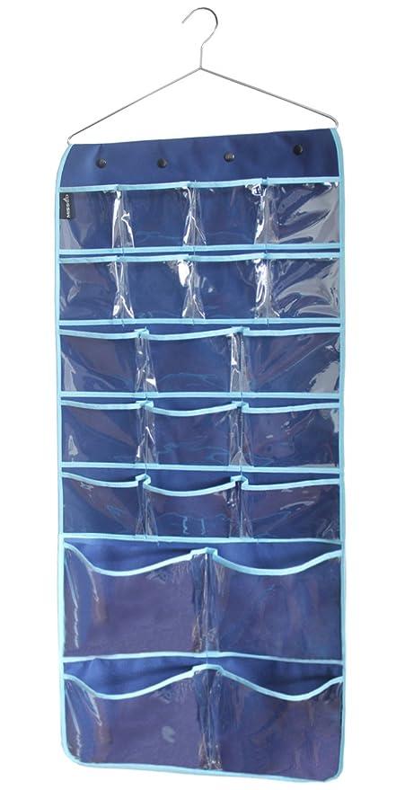 MISSLO Hanging Closet Dual-sided Organizer Bra Underwear Socks Jewelry Storage 42 Pockets, Blue